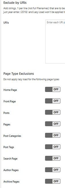 a3 Lazy Loadの設定 page type exclusions